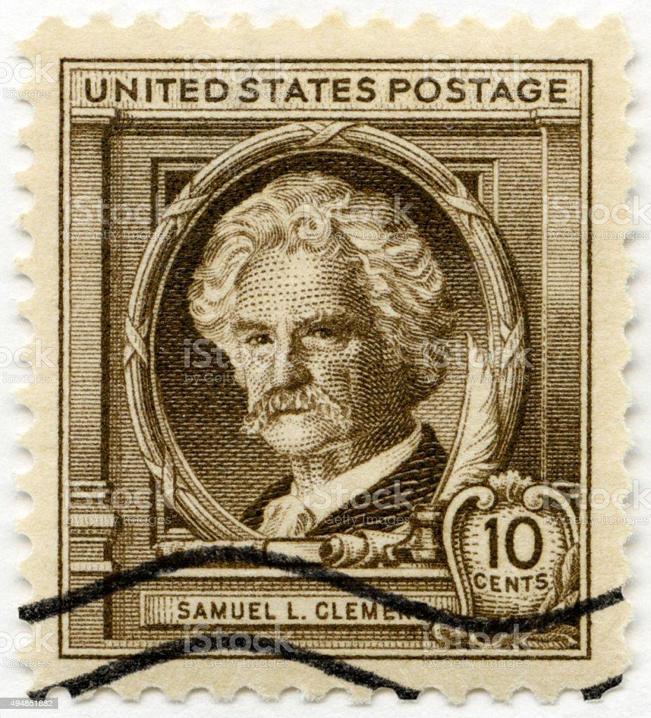 Postage stamp USA 1940 shows Samuel Langhorne Clemens Mark Twain stock photo