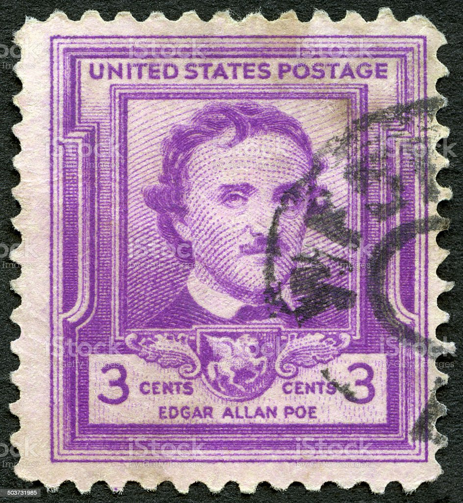 Postage stamp USA 1949 shows Edgar Allan Poe stock photo