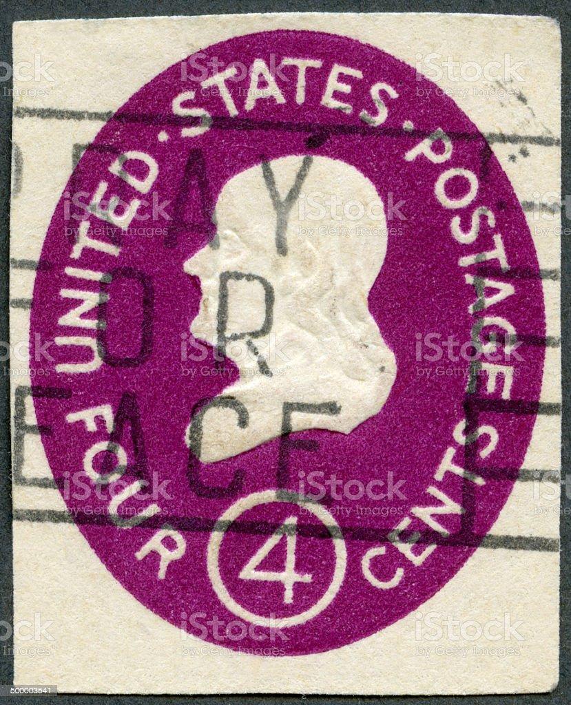 Postage stamp USA 1952 shows President Benjamin Franklin stock photo