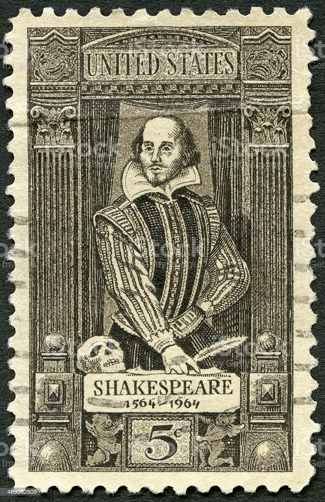 Postage stamp USA 1964 shows William Shakespeare 1564-1616 royalty-free stock photo