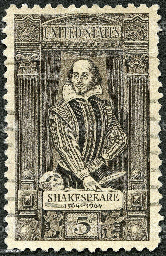 Postage stamp USA 1964 shows William Shakespeare 1564-1616 stock photo