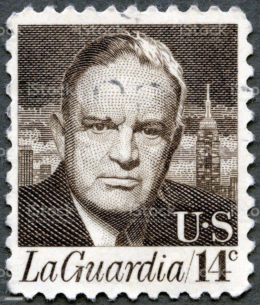 Postage stamp USA 1972 portrait of Fiorello Henry LaGuardia 1882 stock photo