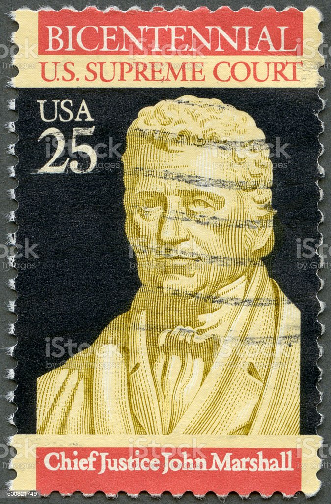 Postage stamp USA 1990 shows Chief Justice John Marshall stock photo