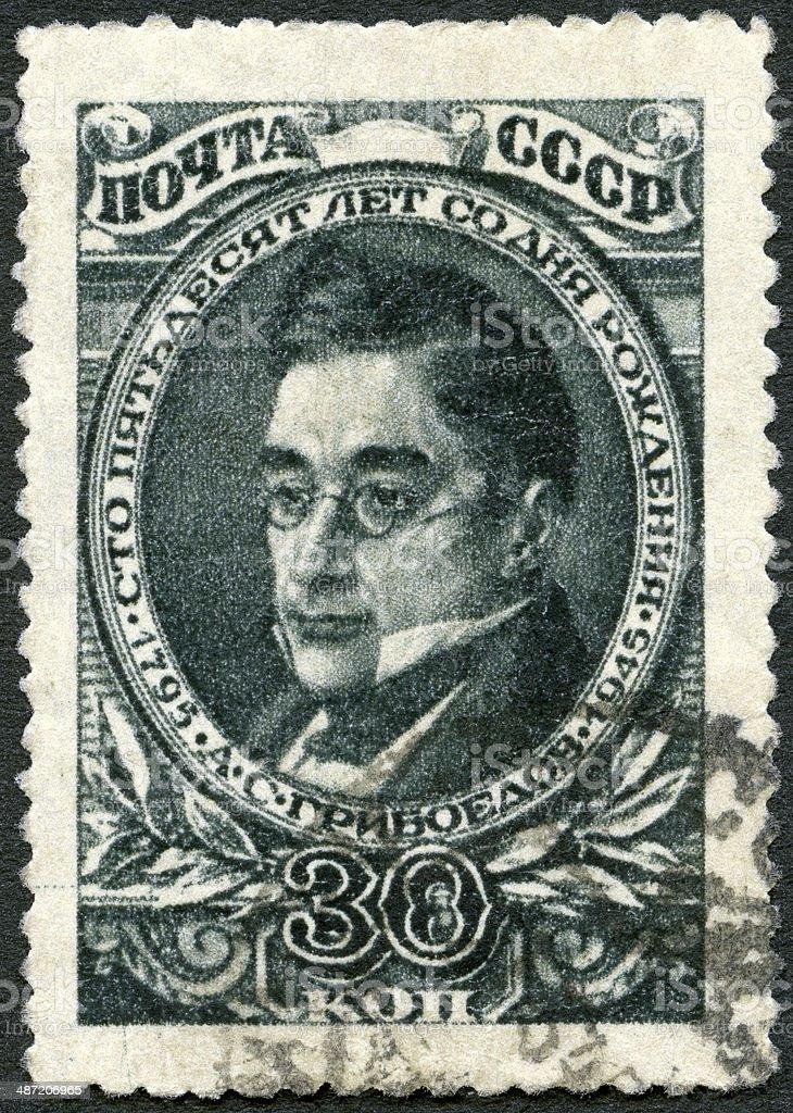 Postage stamp USSR 1945 shows Aleksander Griboyedov 1795-1829 poet royalty-free stock photo