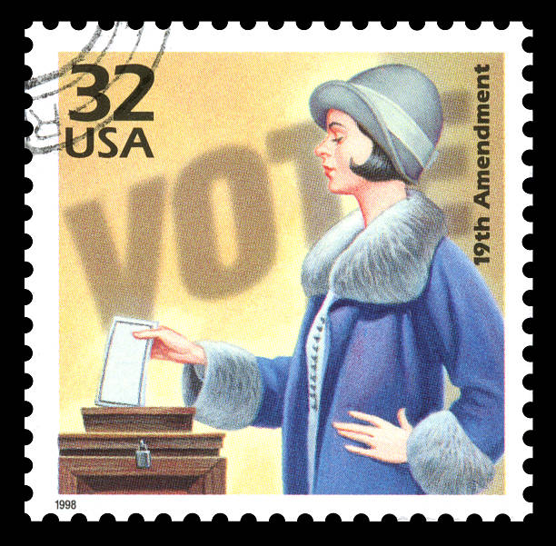 USA Postage Stamp Vote Women's Suffrage USA vintage postage stamp showing an image of a woman voting in the 1920's commemorating women's suffrage women's suffrage stock pictures, royalty-free photos & images