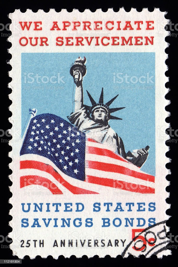 USA Postage Stamp We Appreciate Our Serviceman stock photo