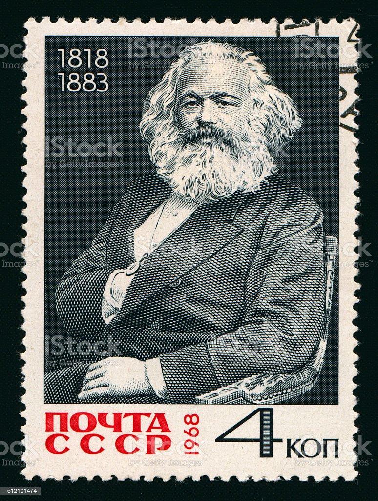 Postage stamp with Karl Marx stock photo