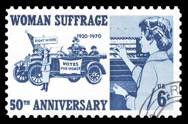 USA Postage Stamp Woman Suffrage USA vintage 1970's postage stamp commemorating 50 years of the the women's suffrage movement women's suffrage stock pictures, royalty-free photos & images