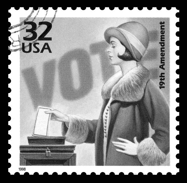USA postage stamp women's suffrage USA vintage 1970's postage stamp commemorating 50 years of the the women's suffrage movement, black and white image women's suffrage stock pictures, royalty-free photos & images