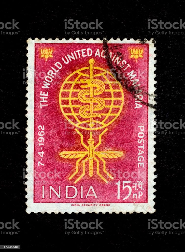 Postage Stamp: World United against Malaria (India 1962) royalty-free stock photo