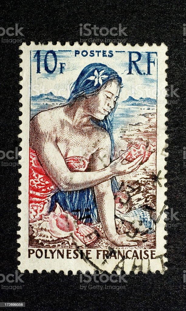 Postage Stamp: Young Woman with Shells (French Polynesia) royalty-free stock photo