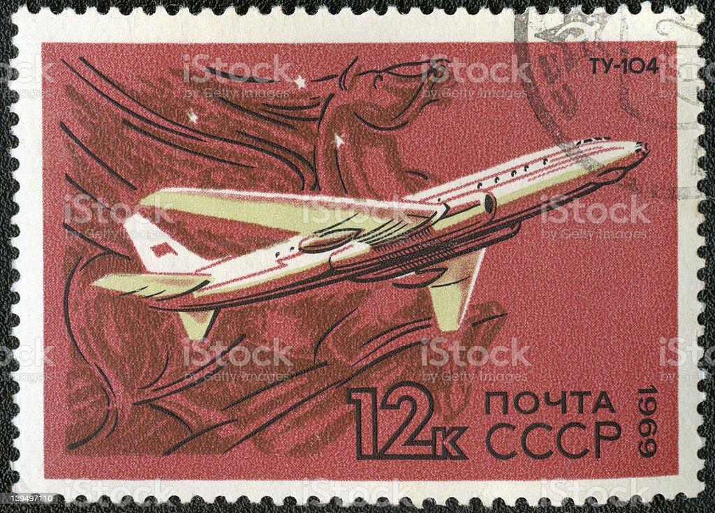 postage stampo USSR 1969  turbojet-powered Soviet airliner TU-104 royalty-free stock photo