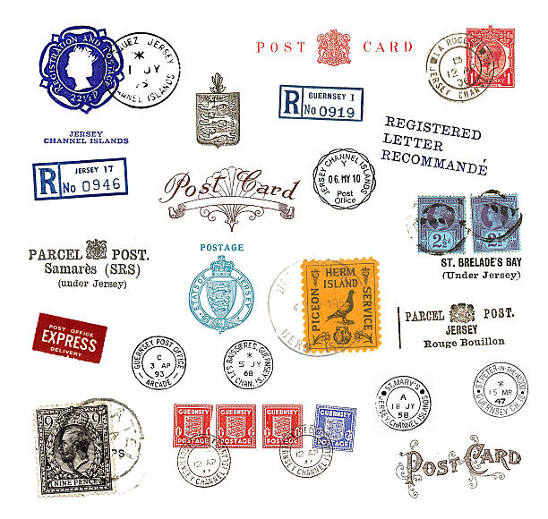 Postage stamps and labels from Canada Postage stamps and  labels from the Channel Islands, mostly vintage ,showing airmail motifs and national symbols stamp stock pictures, royalty-free photos & images
