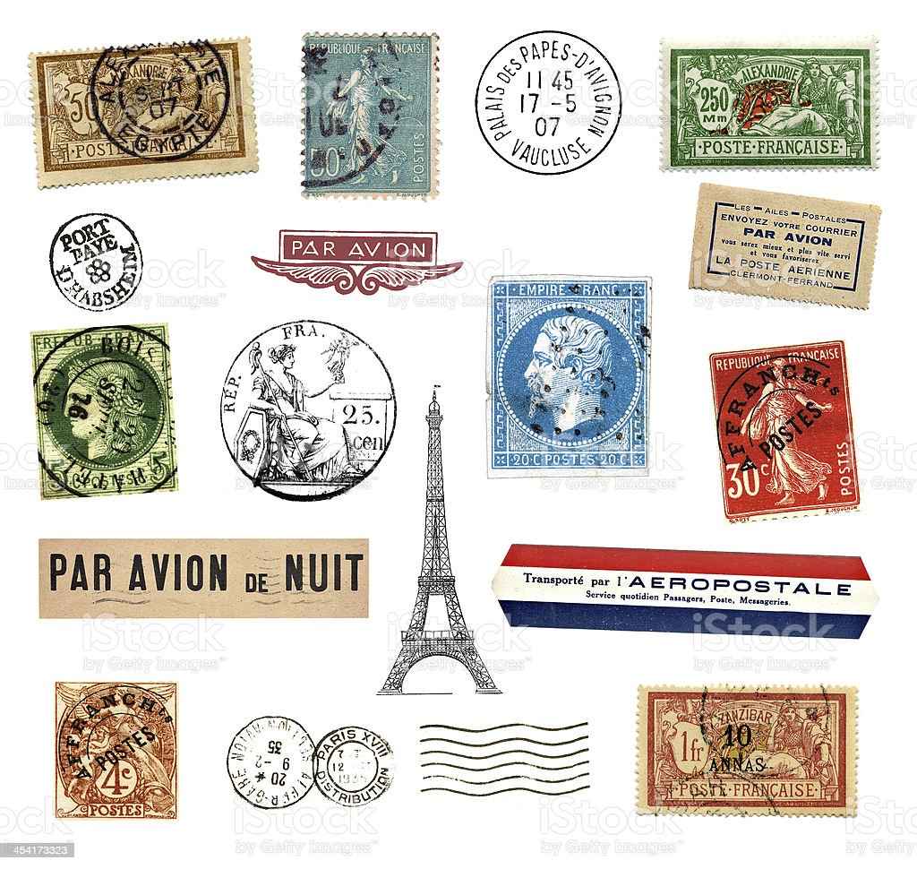 Postage stamps and labels from France royalty-free stock photo