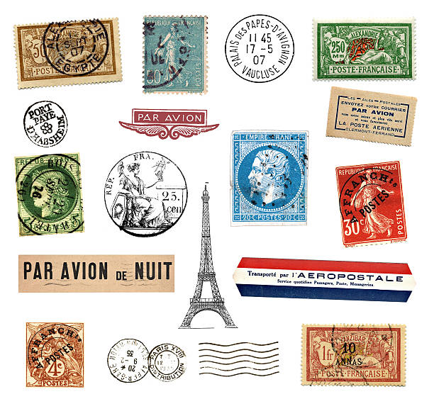 Postage stamps and labels from France Postage stamps and  labels from France, mostly vintage showing airmail motifs and the national symbol Marianne stamp stock pictures, royalty-free photos & images