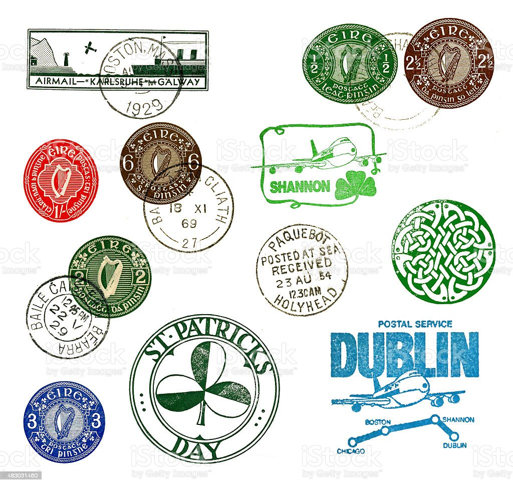 Postage stamps and labels from Ireland stock photo