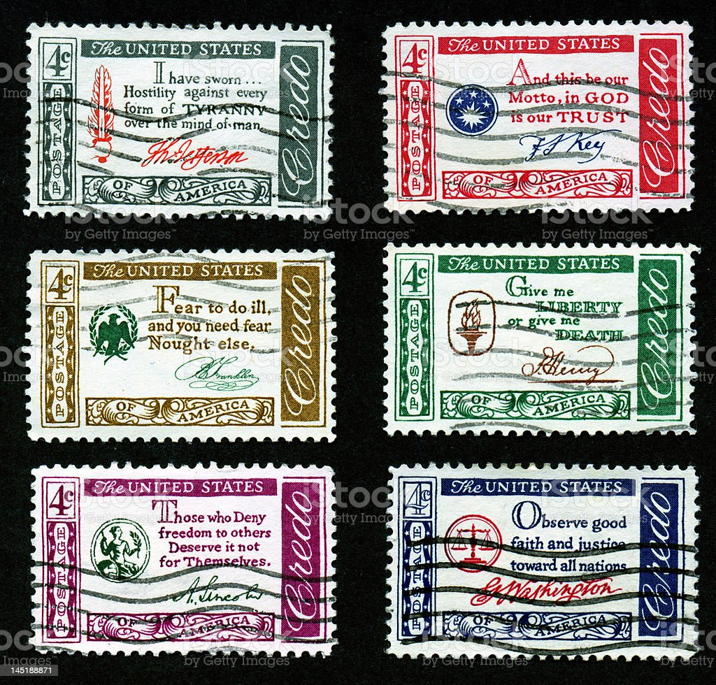 US Postage Stamps, Credo  Quotation Series stock photo