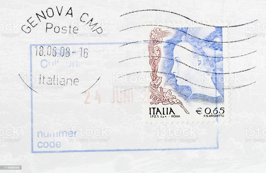 Postage Stamps: Female Face (Italy) royalty-free stock photo
