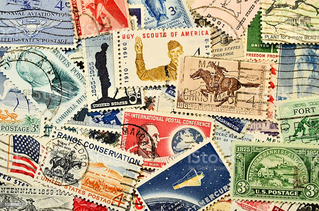 Postage stamps from USA 1960's stock photo