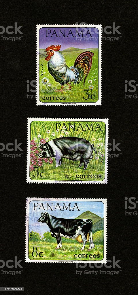 Postage Stamps: On the Farm (Panama) royalty-free stock photo