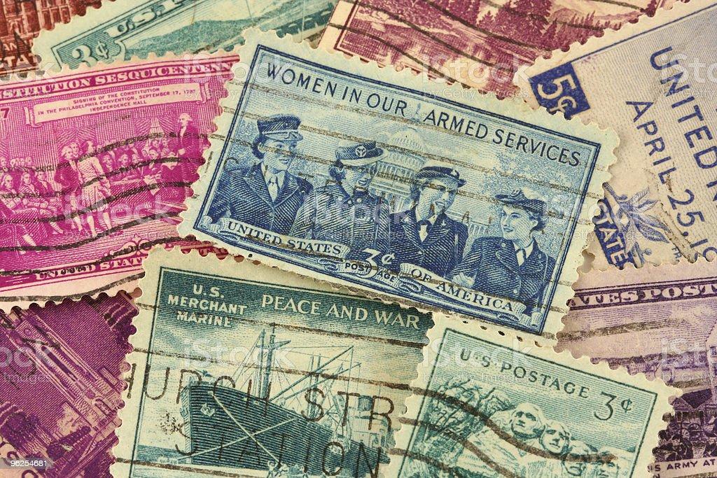 Nós Selos postais - Foto de stock de Antigo royalty-free