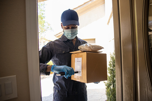 Postal delivery service during the covid-19 pandemic of 2020.