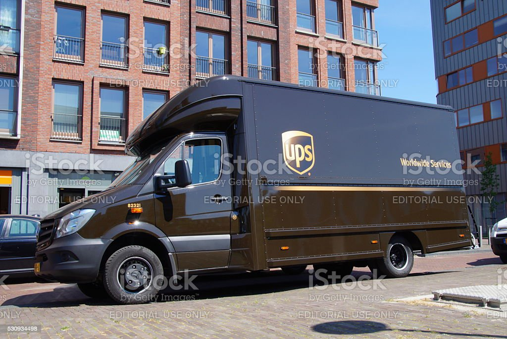 UPS Postal Delivery Truck - Mercedes stock photo