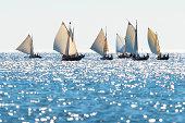 Postal rowing boats between Grisslehamn (Sweden) and Eckerö (Åland) in sunny weather