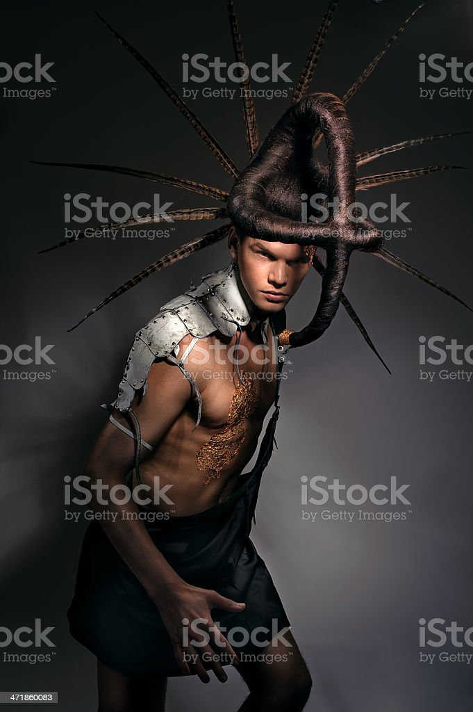 post-apocalyptic warrior in the Egyptian style royalty-free stock photo