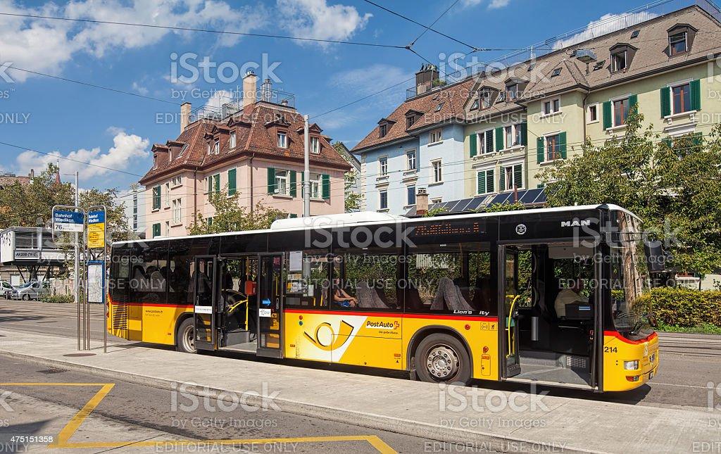 Postauto bus in Zurich stock photo