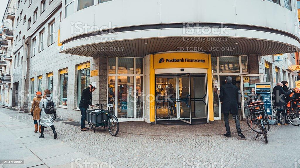 Postbank entrance stock photo