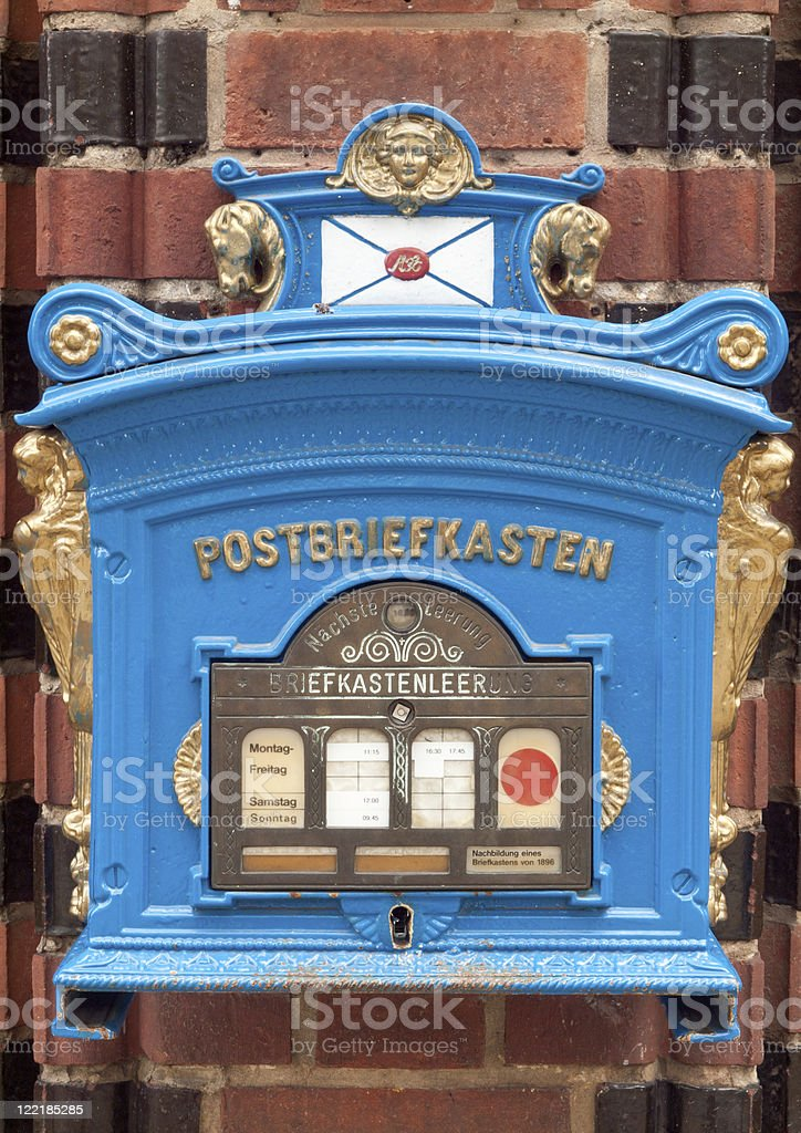 Postbox in Germany (remake from 1896) stock photo