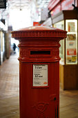 Oxford, England, UK - 2 July 2019: postbox inside covered market in Oxford town.