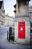 Oxford, England, UK - 2 July 2019: postbox next to in Bodleian Library Oxford town.
