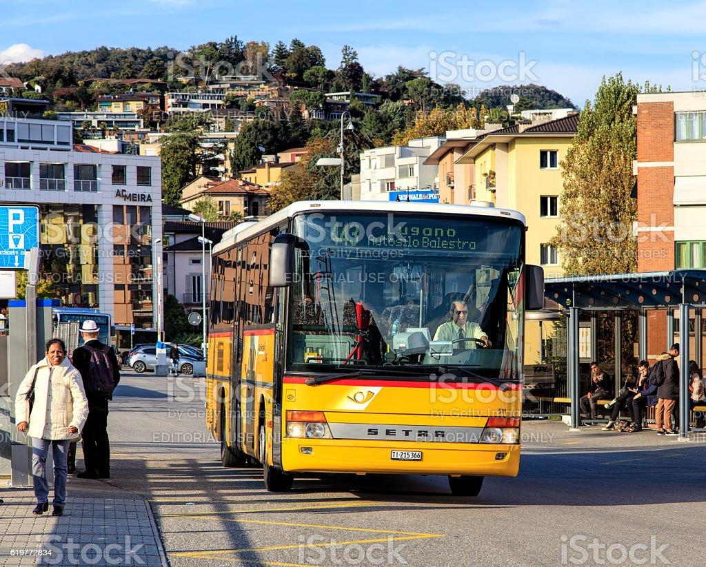 PostBus in Lugano, Switzerland stock photo