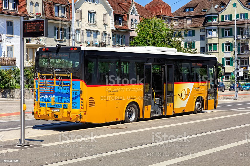 PostBus in Solothurn, Swizerland stock photo