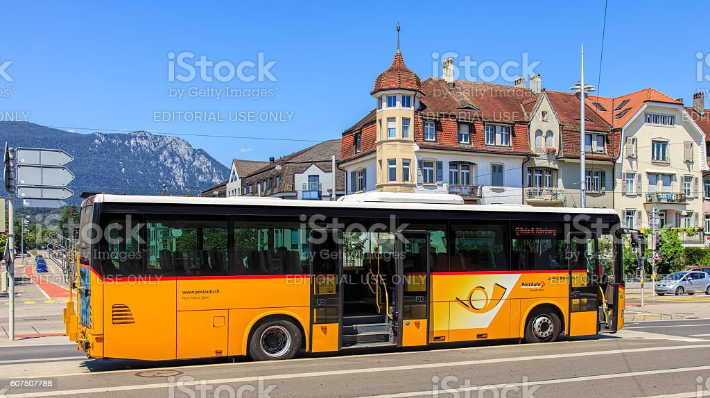 PostBus in the city of Solothurn stock photo