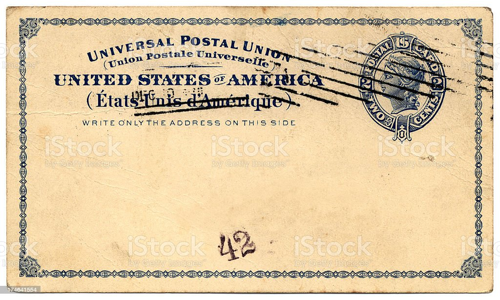 US postcard 1897 royalty-free stock photo