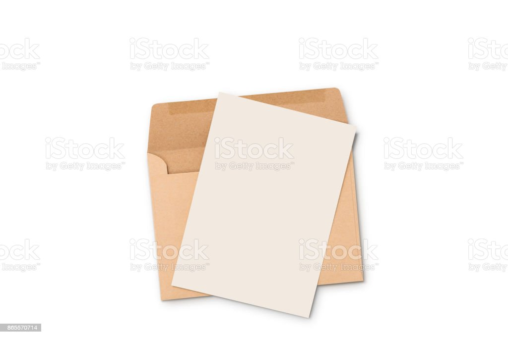 Postcard and Floating Envelope Mockup,blank white flyer postcard invitation isolate on white with clipping path stock photo