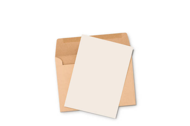 postcard and floating envelope mockup,blank white flyer postcard invitation isolate on white with clipping path - note message stock photos and pictures