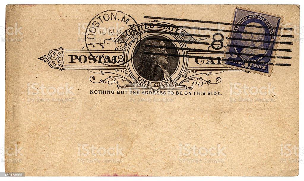 Postcard from Boston, Massachusetts, to England, 1889 royalty-free stock photo
