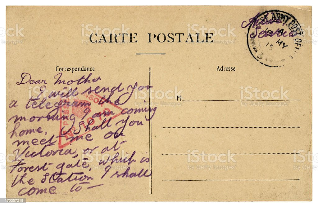 Postcard from British soldier, 1915 royalty-free stock photo
