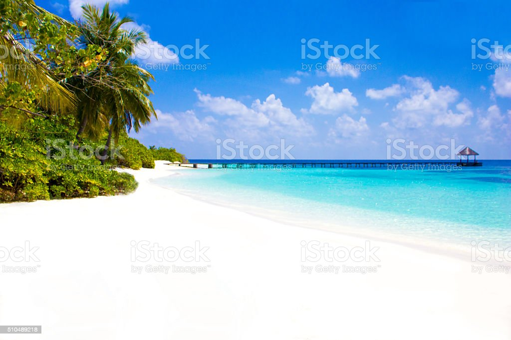 Postcard from Cheval Blanc Randheli, The Maldives stock photo