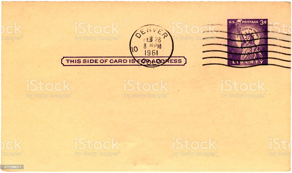 Postcard from Denver, Colorado, 1961 royalty-free stock photo