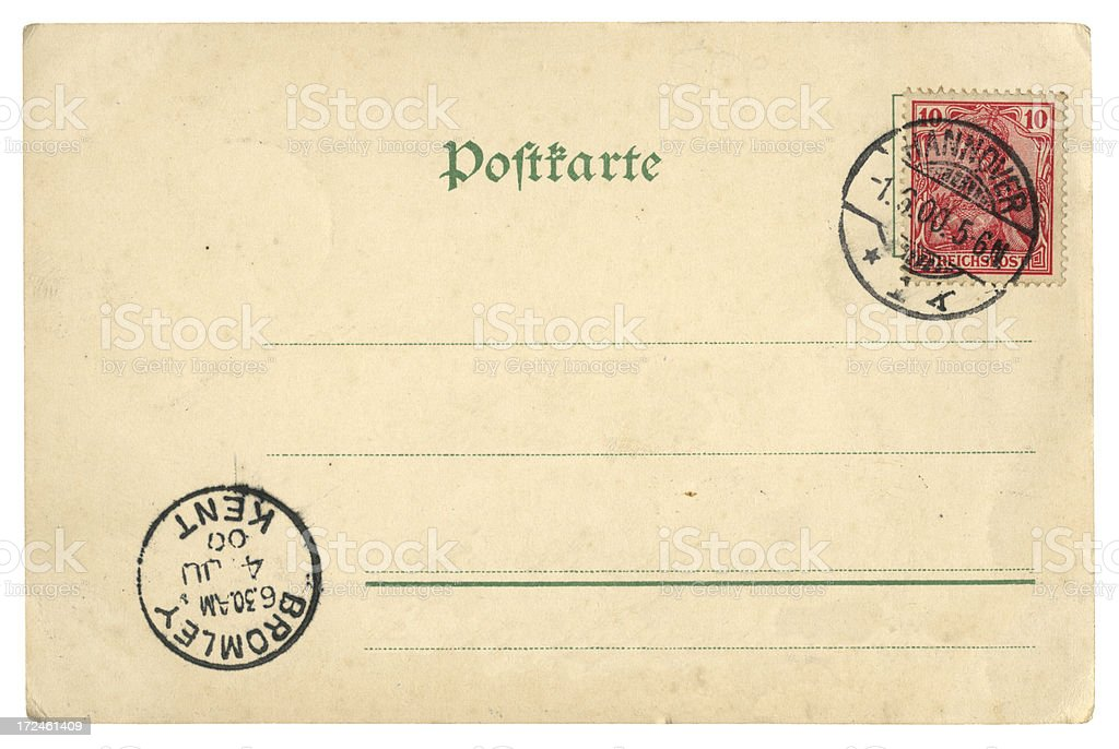 Postcard from Hannover, Germany, to Bromley, Kent, 1900 royalty-free stock photo