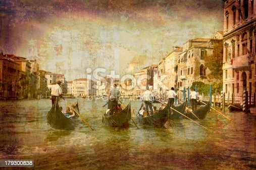 Artistic work of my own in retro style - Postcard from Italy. - Gondolas Grand Canal - Venice.MY ITALIAN LIGHTBOX:
