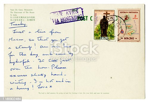 An old handwritten postcard sent from Macau, via Hong Kong, in 1969. (Identifying details removed.)