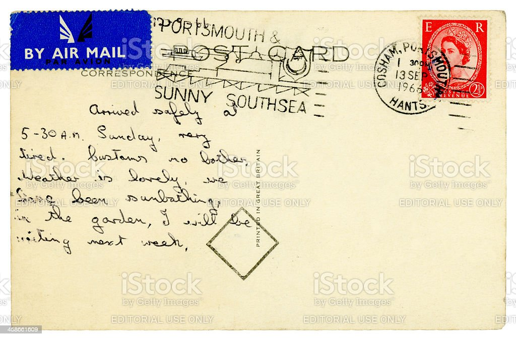 Postcard from Portsmouth, 1966 royalty-free stock photo