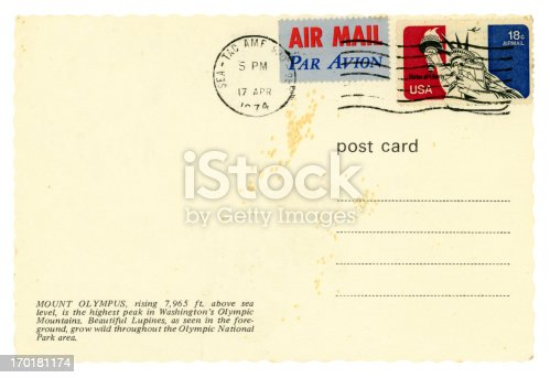 A blank postcard sent from Seattle (Seattle-Tacoma Airport), Washington State, USA, in 1974.