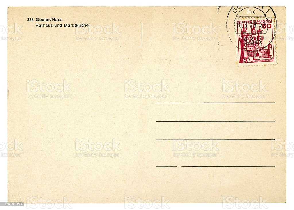 Postcard from West Germany, 1978 royalty-free stock photo